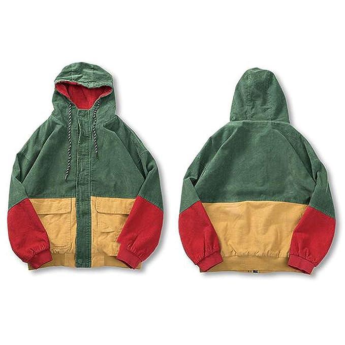Amazon.com: Hoodie Loose Jacket Men Winter Corduroy Jacket Harajuku Red Patchwork Autumn Bomber Jacket: Clothing