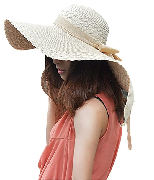6 opinioni per TININNA Donne Donne beige Bowknot del cappello del sole della spiaggia del
