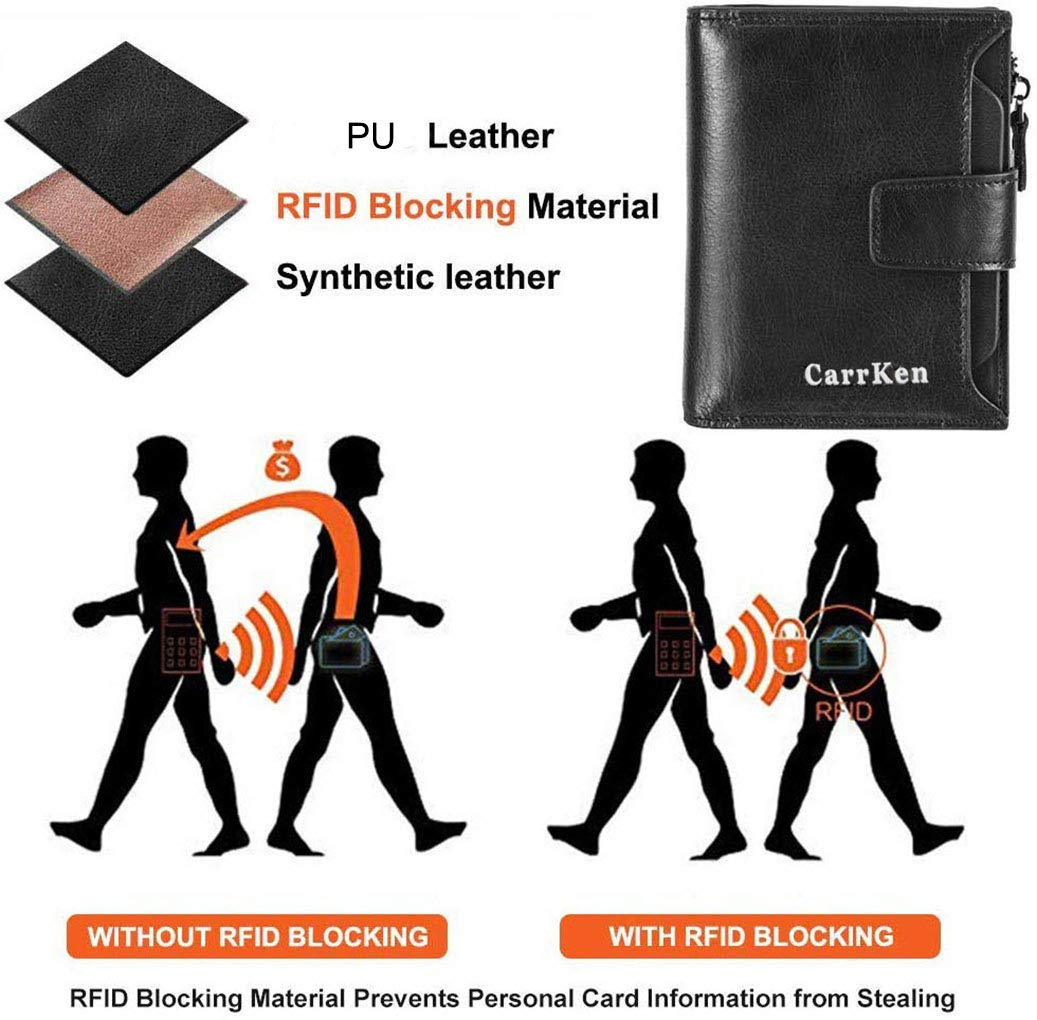 Portafoglio uomo PU Portafoglio bloccante RFID in Porta carte di credito Portafoglio bifold con tasca portamonete con zip per uomo(Nero-9)