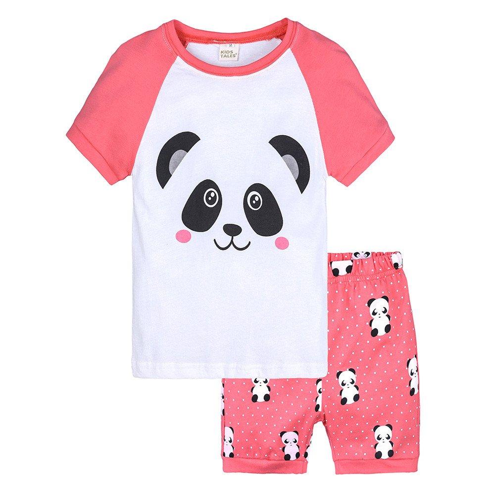 Cute Cartoon Panda Nightgown,Kids Boys Summer Outfits,Little Girls Pajama Set Tee Tops + Shorts(White,2 Years)