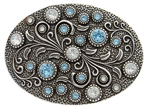 Antique Silver Oval Engraved Crystal/Aquamarine Rhinestone Belt Buckle