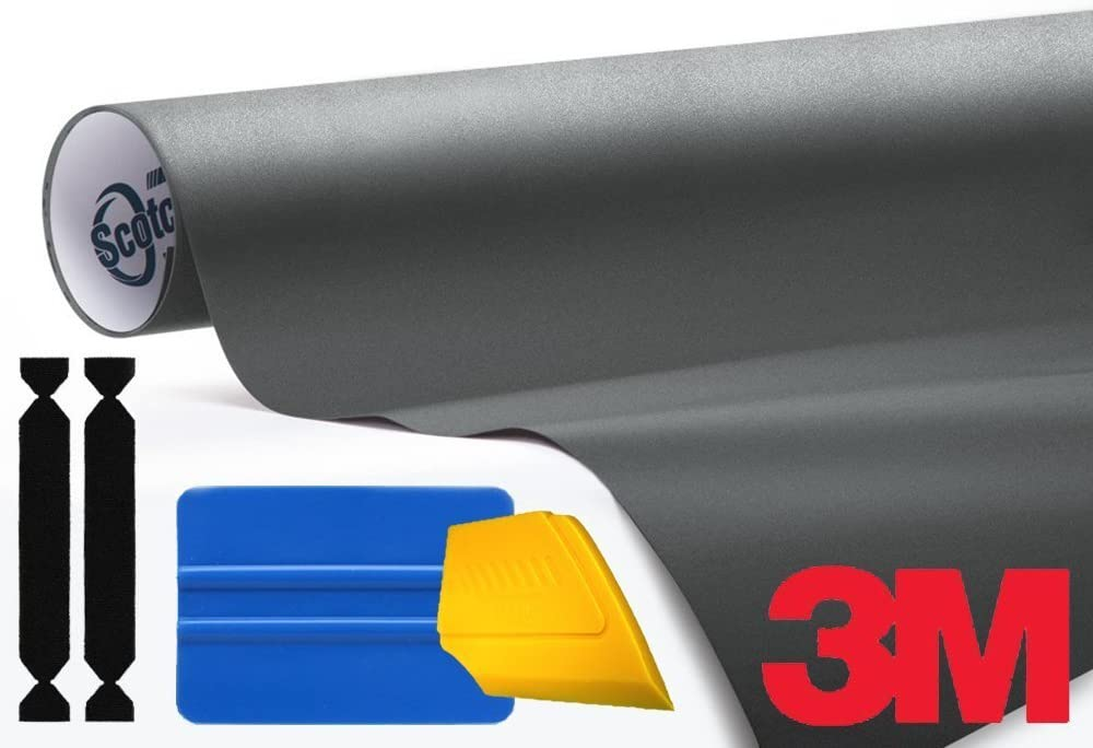 3M 1080 Matte Dark Gray Air-Release Vinyl Wrap Roll Including Toolkit 3ft x 5ft