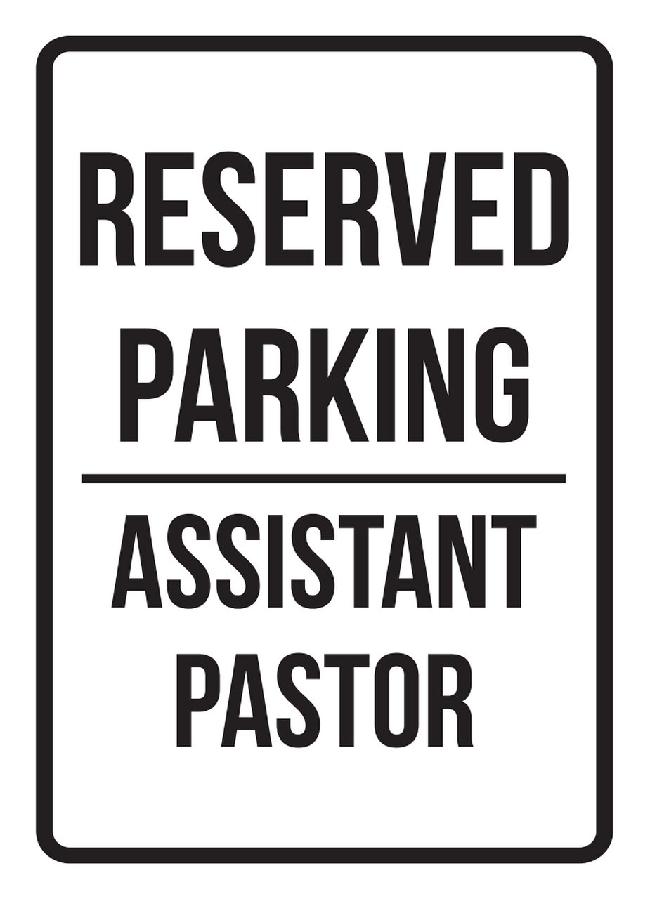 iCandy Products Inc Reserved Parking Assistant Pastor Business Safety Traffic Signs Black - 7.5x10.5 - Metal