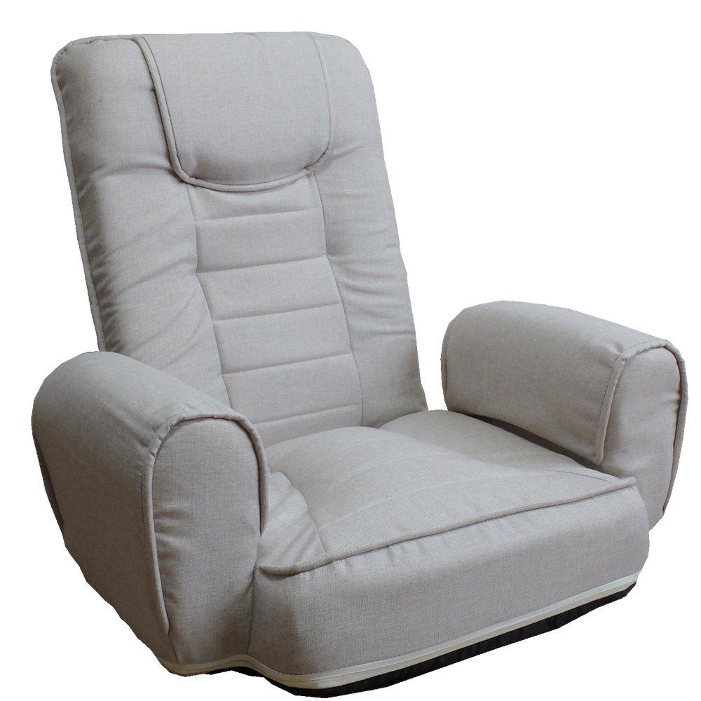 (R&E) 完成品 14段階リクライニングチェア 【KAI カイ】 お手入れ簡単 カイ 座椅子 リクライニング チェア ソファ ファブリック (ベージュ(ファブリック)) B075689DXP ベージュ(ファブリック) ベージュ(ファブリック)