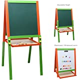 Children's Wood Double-Sided Art & Activity Easel with Chalkboard, Dry Erase White Board & Storage Shelf