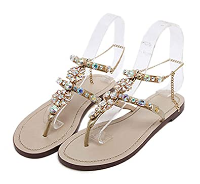 270aa3054638e4 2019 Woman Sandals Women Shoes Rhinestones Crystal Chains Thong Gladiator  Flat Sandals Chaussure Plus Size