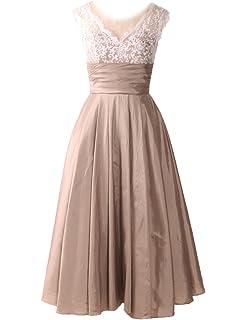 Midi Evening Dresses Wedding Women A Line Tea Length Cocktail Vintage Bridal Gown E135
