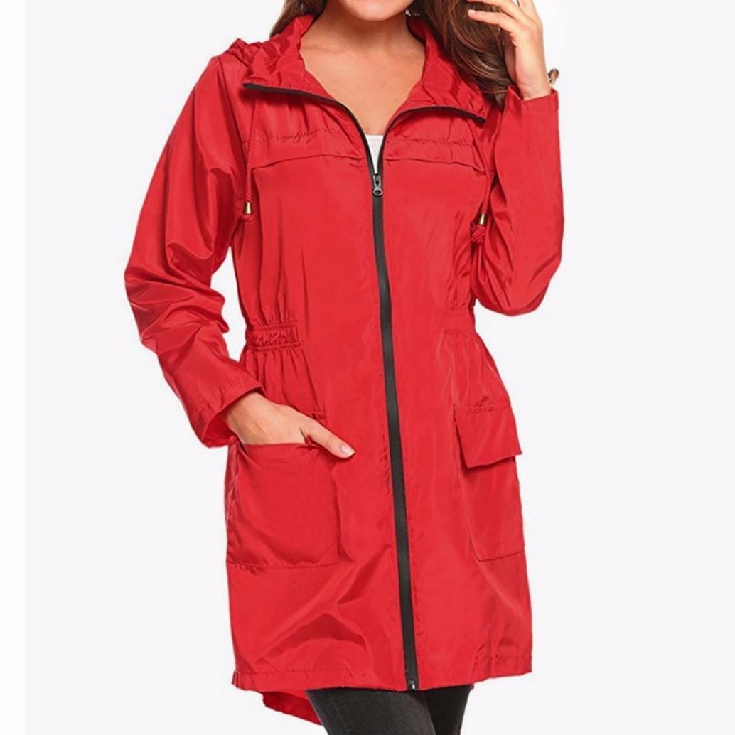 Mamum Women Windproof and Rain-Proof Warm Long Trench Coat, Women Lightweight Travel Waterproof Raincoat Hoodie Windproof Hiking Coat Jacket