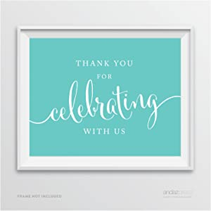 Andaz Press Party Signs, 8.5-inch x 11-inch, Thank You for Celebrating With Us, Diamond Blue, 1-Pack, Print Poster Decor Decoration for Baby Bridal Wedding Shower, Anniversary Celebration, Graduation, Outdoor Event, Picnic, Luau, Christmas Hanukkah Holiday Party, Sweet 16 Quinceanera Birthday, Kids Birthday Party, Baptism, Christening, Confirmation, Communion Party Favors Table Sign