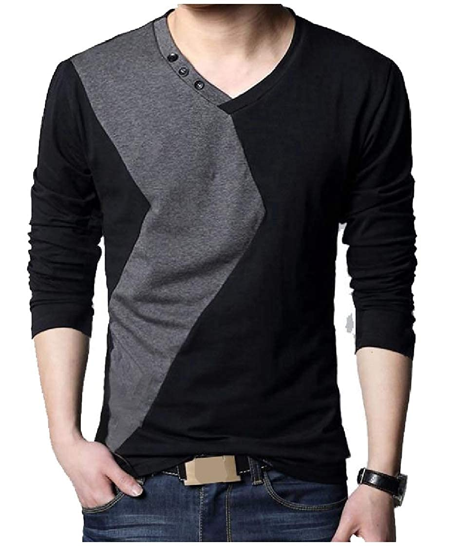 DressU Mens V-Neck Plus-Size Splice Pullover Comfy Long-Sleeve Tees