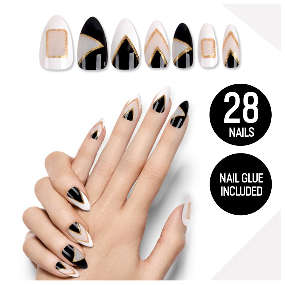 Tip Beauty Black Silver Fake Nail Kit, Peek A Boo, Faux Nails for Women, Fake Nails for Kids, Glue on Nails, Instant Nails for Ladies, False Nails with Glue - MSRP $18