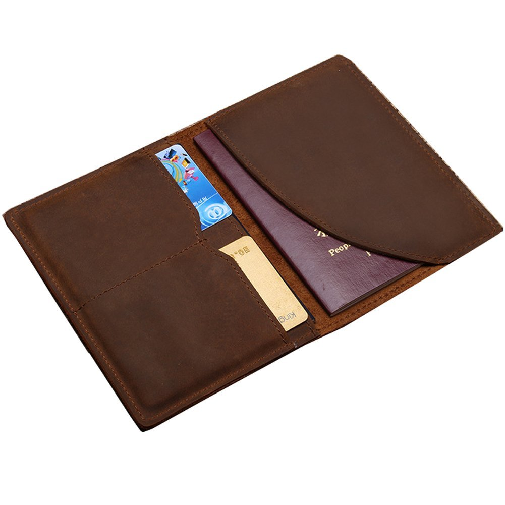 EVERDOSS Passport Wallet Holder Travel Wallet For Men Retro Genuine Leather Brown