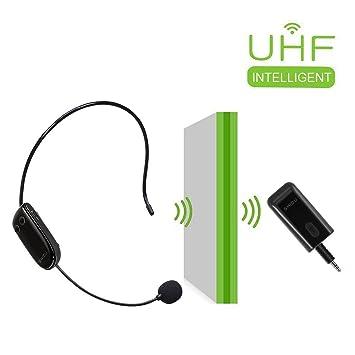 Auriculares inalámbricos UHF con micrófono 2 en 1, para amplificador de voz, PC,