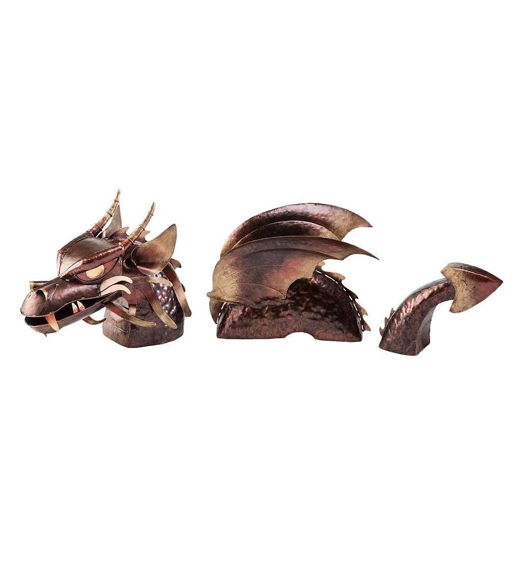 3-Piece Metal Dragon Garden Stake 37''L x 10''W x 19''H by Wind & Weather (Image #1)