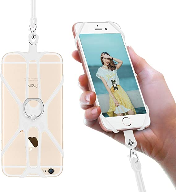 Silicone Case Finger Ring Stand Stretchy Holder with Detachable Neck Strap Compatible with iPhone X XS SE 5s 5 6 7 8 Plus and Most Smart Phones Black SHANSHUI Cell Phone Lanyard
