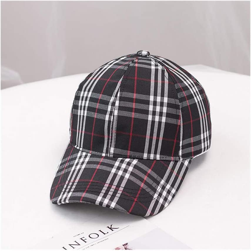 UICICI Hat Female Summer Retro Trend Plaid Baseball Cap Couple Visor Cap Color : Khaki, Size : F