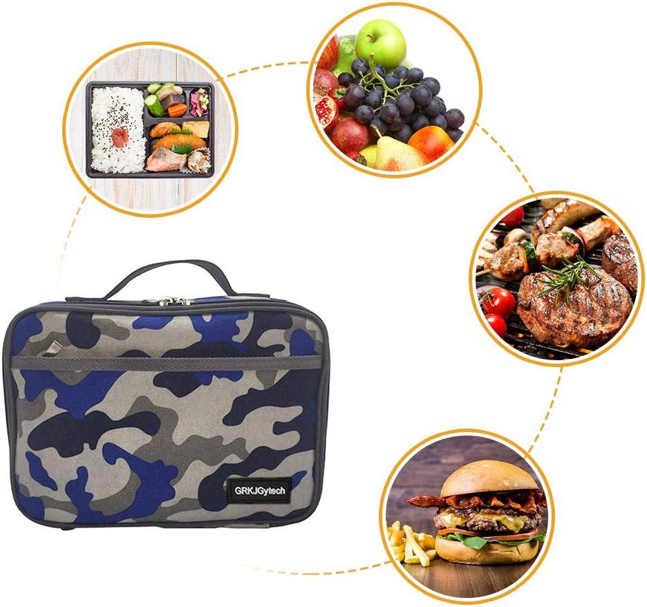 GRKJGytech Borsa Termica Manutenzione di Freddo e Caldo Porta Pranzo Cibo Alimentazione Camo Lunch Box per Campeggio Lavoro Scuola Blu Camo
