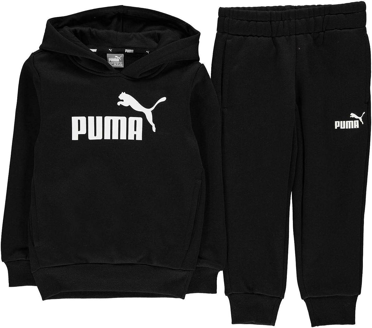 Puma - Chándal infantil de algodón con capucha para niño negro ...