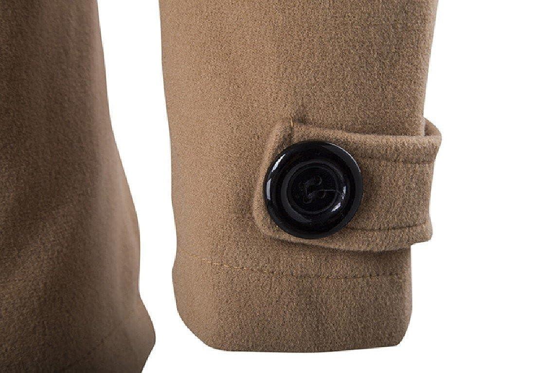 Sankt Men Trench Coat Vertical Collar Double-breasted Warm Peacoat