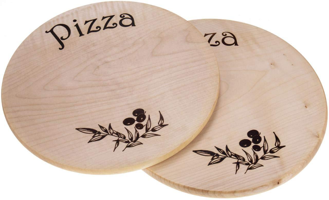 Sannys Pizzateller aus Holz /Ø 35 cm Holzteller Pizza ge/ölt Gravurf/ähig Mit Gravur