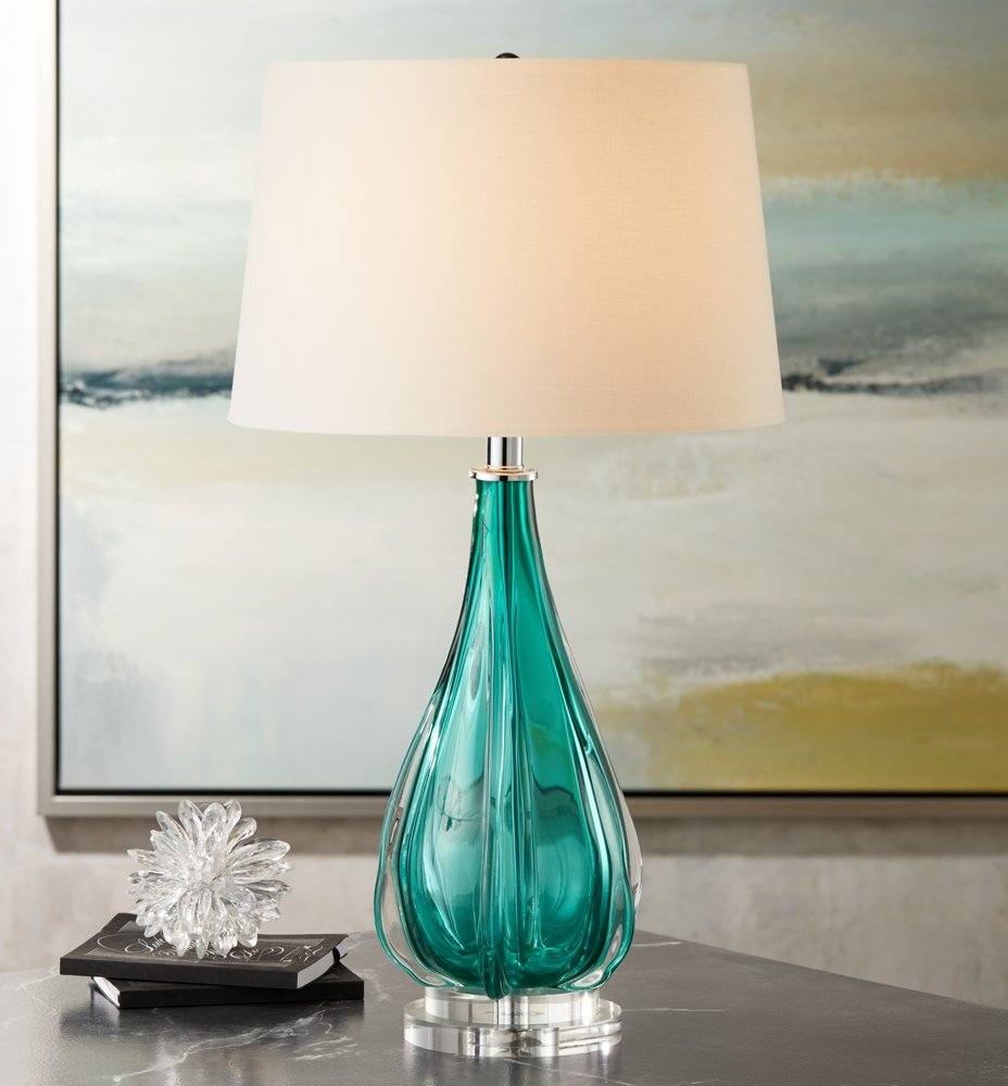 multifaceted lamp jrl table turquoise