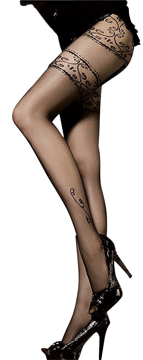 Ballerina Damen-Strumpfhose, schwarz, mit Muster, Strapsoptik Grö ß en Small/Medium
