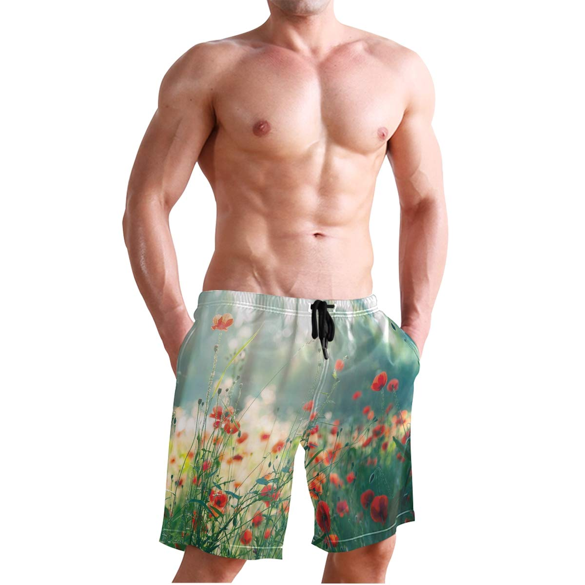 KVMV Watercolor Portrait of Woman with Artsy Floral Hairstyle Paint Splatters Quick Dry Beach Shorts