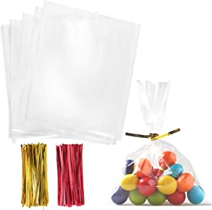 Cello Cellophane Treat Bags,5x7 Inches Clear Cellophane Bags 200 Pcs OPP Plastic Treat Bags with 200 Twist Ties for Gift Wrapping,Packaging Candies,Dessert,Bakery, Cookies, Chocolate,Party Favor