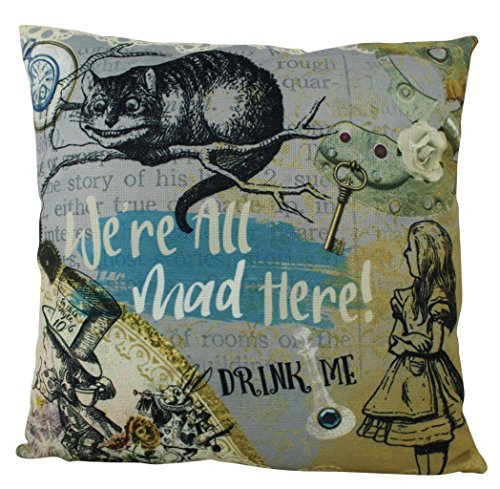 UniikStuff Alice in Wonderland | Pillow Cover | Alice | Home Decor | Throw Pillow | Mad Hatter Pillow | Cheshire Cat Cover | Adventure Awaits | Kids -