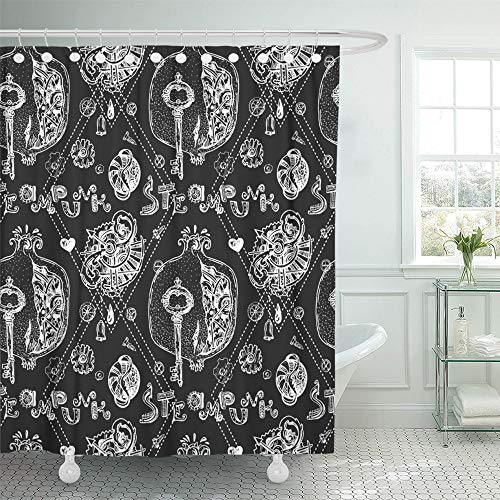 - Emvency Shower Curtain Waterproof Decorative Bathroom 72 x 78 inches Punk Beautiful Mechanical Pomegranate Steampunk for Smartphones Textiles Rock Steam Polyester Fabric Set with Hooks