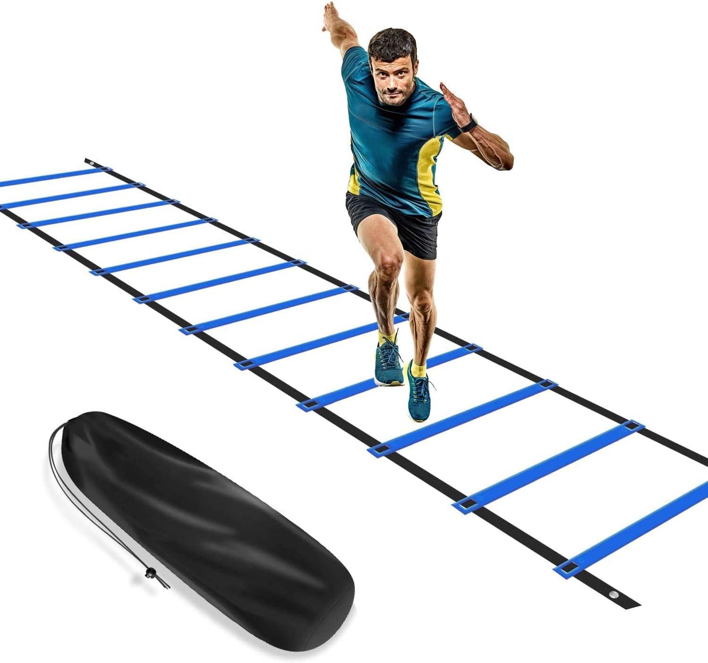 KIKILIVE - Escalera de agilidad, escalera de coordinación para entrenamiento de fútbol, escalera de entrenamiento de 6 m, fútbol de agilidad, con bolsillo, color azul y amarillo: Amazon.es: Deportes y aire libre
