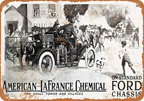Wall-Color 9 x 12 Metal Sign - 1916 American Lafrance Chemical Fire Engines on Ford Chassis - Vintage Look Reproduction