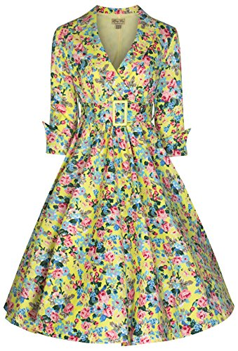 Lindy-Bop-Womens-Vivi-Vintage-1950s-Style-English-Rose-Floral-Print-Dress-6XL-Yellow-Floral