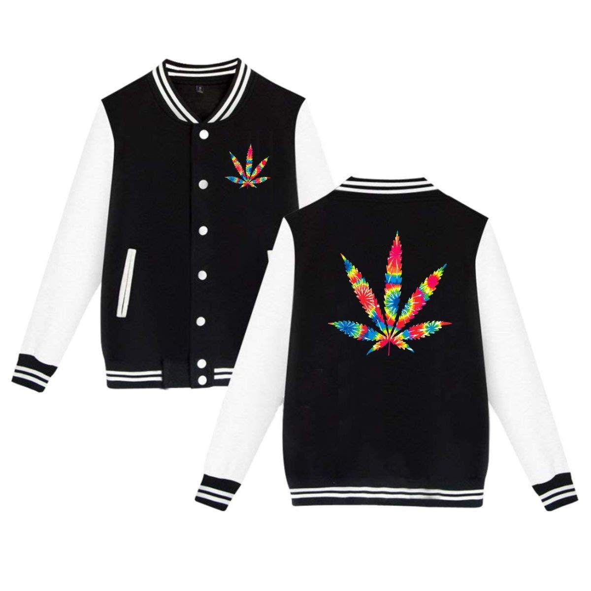 MEILOP Unisex Weed Leaf Tie Dye Baseball Jacket Uniform Sweater Coat