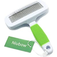 Niubow Professional Quality Pet Slicker Brush with Coated Pin Tips for Dogs & Cats - Gently Removes Mats & Loose Dead Hair Easily (Large, Green)