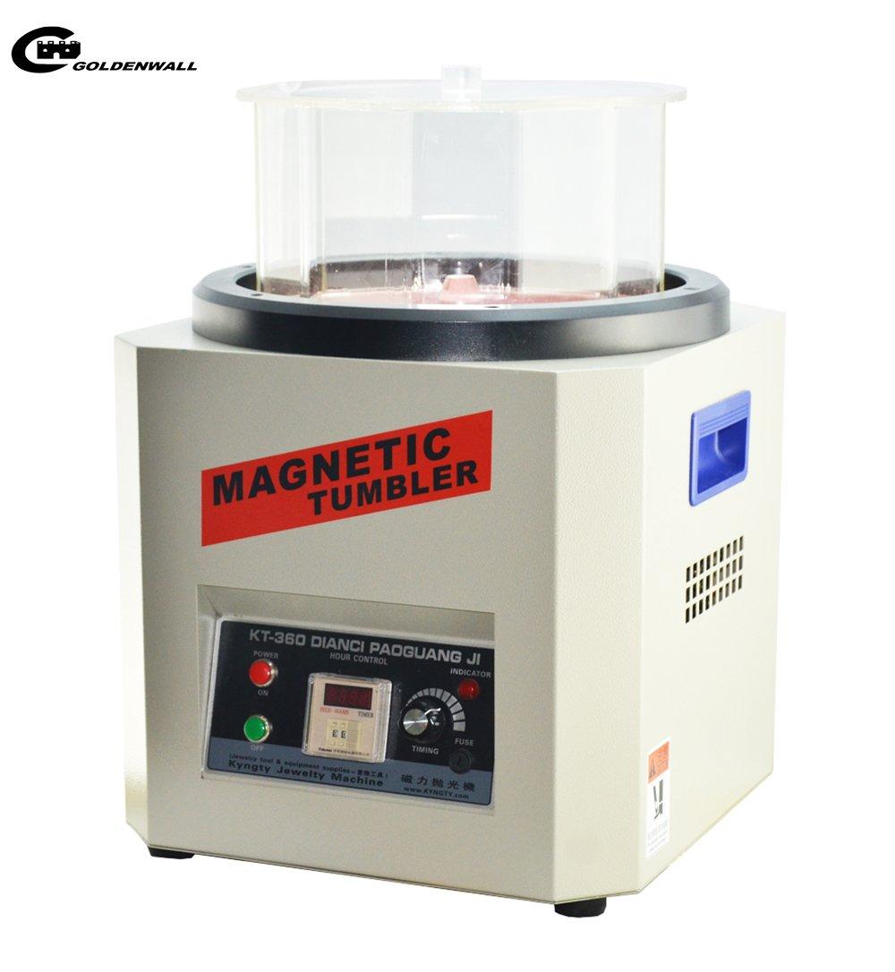 CGOLDENWALL 磁気バレル研磨機 タイマー付 1300g正反転可能、速度調整可能な強磁気ポリッシャー デジタル表示 バリ除去 金属磨き シルバー磨き 銀磨き ジュエリー工具 (110V) B078W24FPW