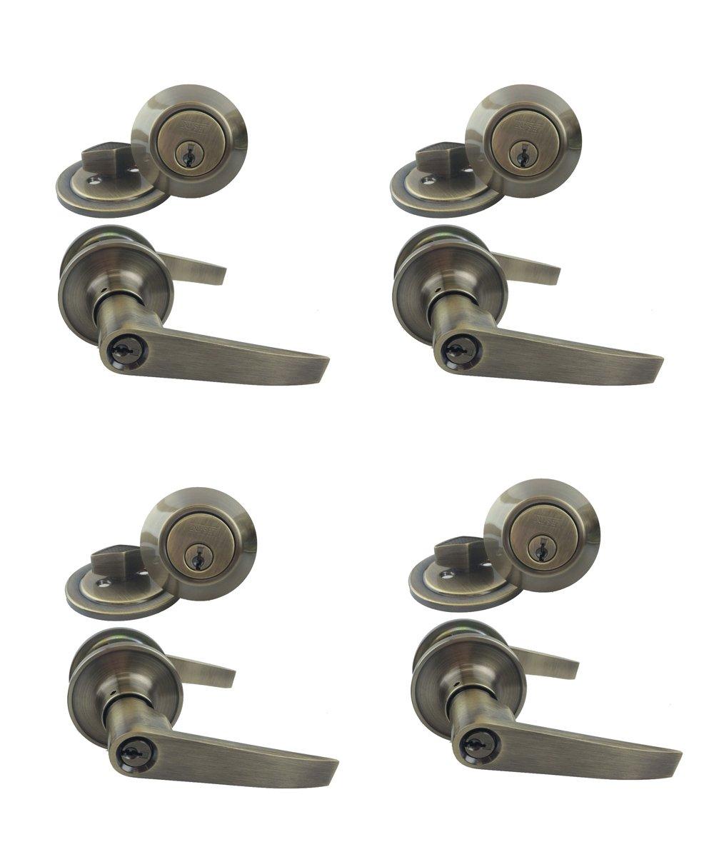 NU-SET 4 x ( T-E-5-3 + 70053)KA Tustin 4 sets of Nu-Set keyed alike door lever lock and single cylinder deadbolt, antique brass,