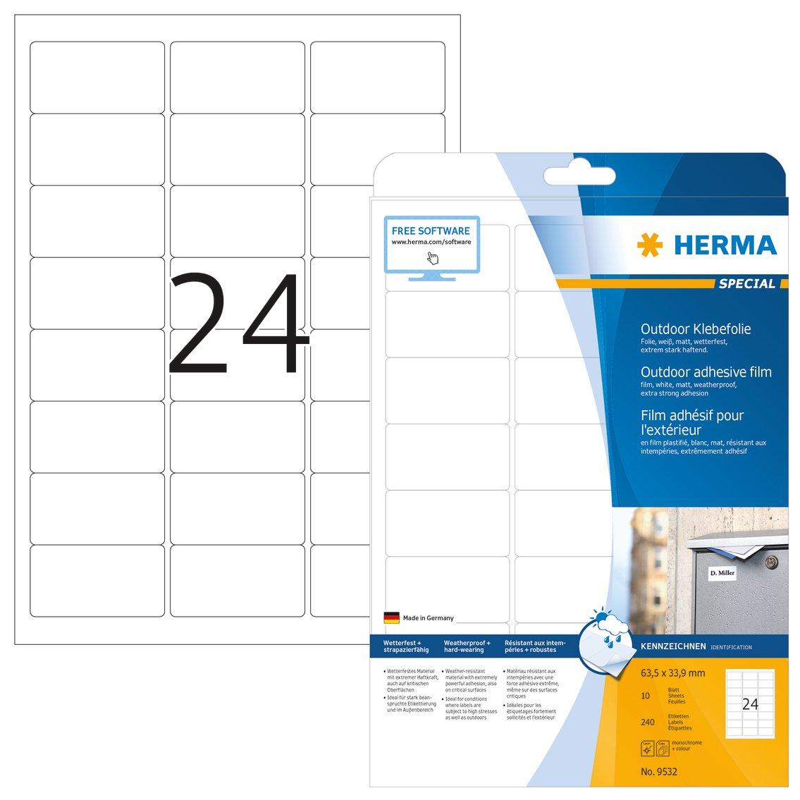 Herma 9532 Wetterfeste Outdoor Etiketten (63,5 x 33,9 mm) weiß, 240 ...