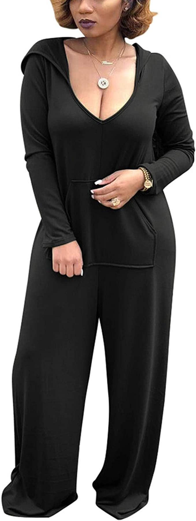 Womens Long Sleeve Plain Hooded Front Pockets All In One Jumpsuits XS-S
