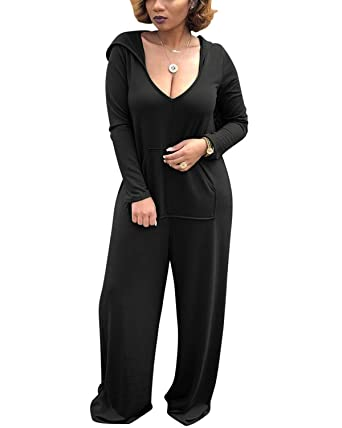 646489ff1be6d Amazon.com: BONESUN Women V-Neck Onesie Jumpsuits Casual Long Sleeve  Jumpsuits Rompers with Pocket Black XL: Clothing