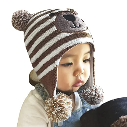 a605fdd6116 Image Unavailable. Image not available for. Color  Baby Kids Cute Cartoon Teddy  Bear Crochet Knit Fleece Cap ...