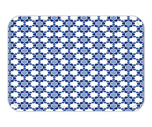 Minicoso Doormat Moroccan Ottoman Oriental Tile Mosaic Image Hexagonal Honeycomb Shaped White Turquoise and Dark (Bigfoot Ottoman)