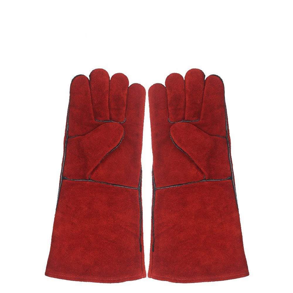 LKSDD Welders Gauntlet,Heat-Resistant Leather Gloves/Fireproof, Suitable for Welders/Oven/Fireplace/Animal Management/Barbecue Red 16 Inches