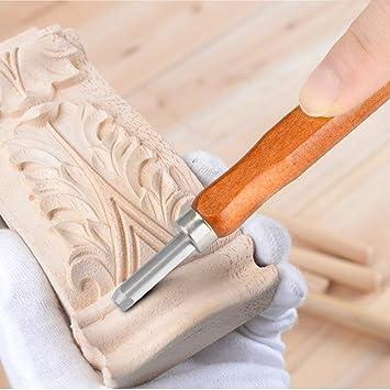 herramientas de cincel para manualidades con protector de dedos de piel Juego de 12 cinceles de madera para tallado de madera estuche de almacenamiento y piedras de afilar con cubierta protectora