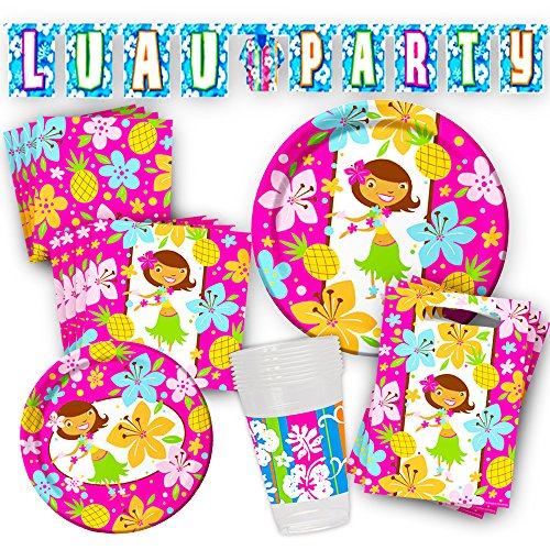 Tiki Luau Party Supplies Ultimate Set -- Party Decorations, Plates, Cups and Napkins (Hawaiian Party -