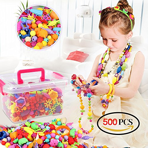 Holody Pop Beads - Arts and Crafts Creative DIY Set Jewelry Making Kits Toy for Kids Toddlers, Ideal Birthday Christmas Gifts for 4, 5, 6, 7 Year Old Girls - -