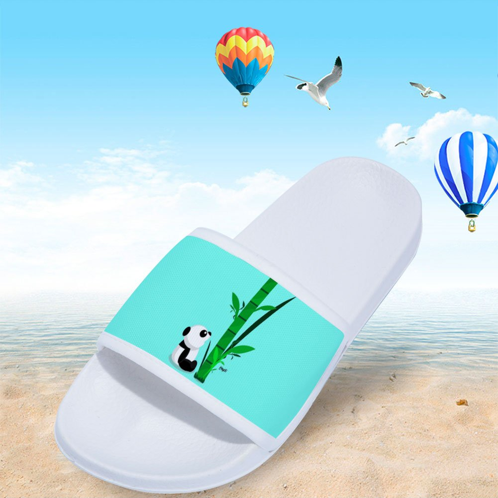 Wilbur Gold Shower Slides Sandals for Boys Girls Anti-Slip Soft Sole Indoor Outdoor Beach Slipper Shoes with Panda