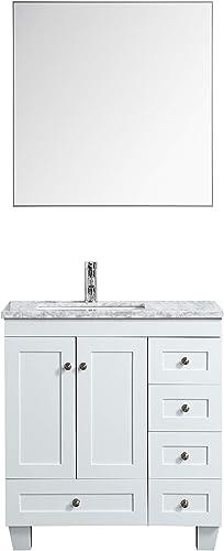 Eviva Happy 30 x 18 White Transitional Bathroom Vanity w Carrara Top, 30