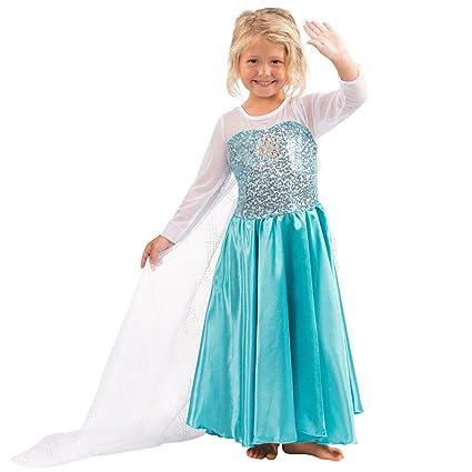 Katara - Vestido de princesa Elsa de Frozen Reina de la Nieve traje de disfraz con lentejuelas y tren de tul, azul-blanco para niñas de 7-8 años