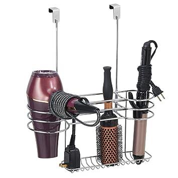 mDesign Soporte para secador de pelo sin taladro – Organizador de baño grande de metal para